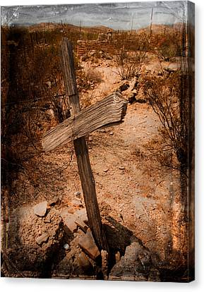 Ghost Town Cross Canvas Print by Sonja Quintero
