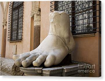 Giant Foot From Emperor Constantine Statue. Capitoline Museum. R Canvas Print by Bernard Jaubert