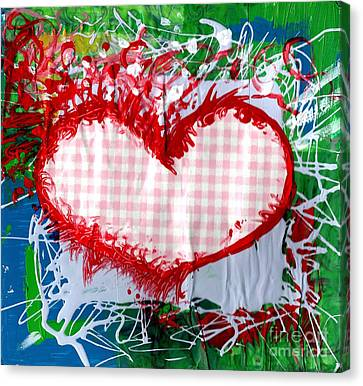 Gingham Crazy Heart Canvas Print by Genevieve Esson