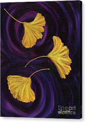 Ginkgo Leaves In Swirling Water Canvas Print by Laura Iverson