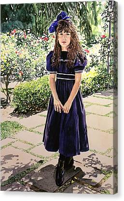 Girl At The Huntington Canvas Print by David Lloyd Glover