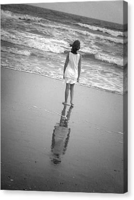Girl By Ocean Canvas Print by Kelly Hazel
