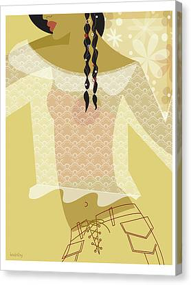 Girl In Lace Canvas Print by Lisa Henderling