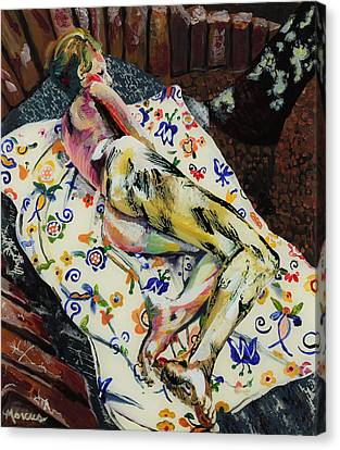 Girl On Blanket Canvas Print by Lucia Marcus