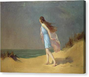 Girl On The Beach  Canvas Print by Frank Richards