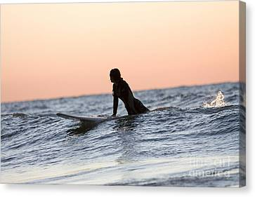 Girl Surfer Catching A Wave In Lake Michigan Canvas Print by Christopher Purcell