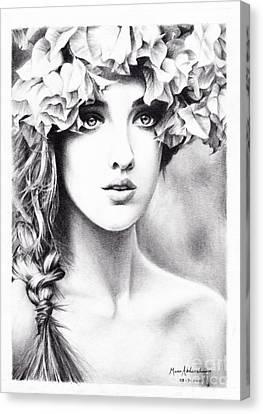 Girl With A Floral Crown Canvas Print by Muna Abdurrahman