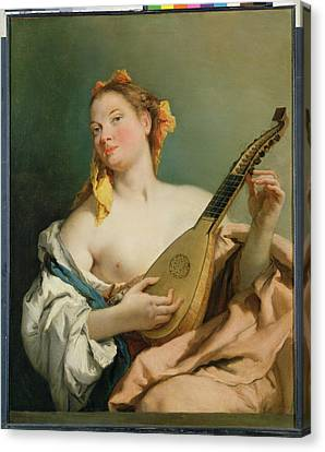 Girl With A Mandolin Canvas Print by Giovanni Battista Tiepolo