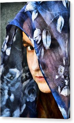 Girl With A Rose Veil 2 Illustration Canvas Print by Angelina Vick