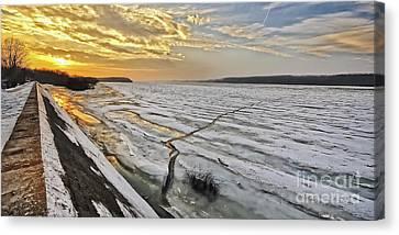 Glaciation Of The Danube. Canvas Print by Evmeniya Stankova
