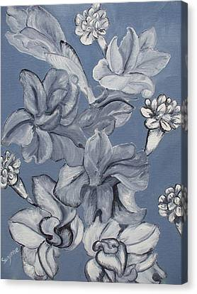 Gladiolas And Carnations Canvas Print by Suzanne Buckland