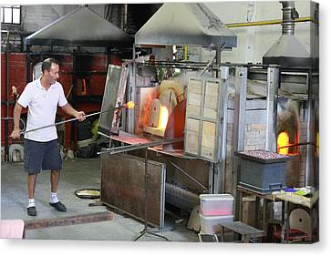 Glass Manufacture In Murano Canvas Print by Paul Cowan