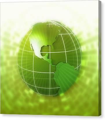 Globe Focus On Americas, Digital Canvas Print by Chad Baker
