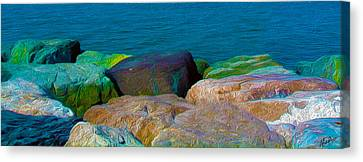 Goa Sea Front Rocks Canvas Print by Naresh Ladhu