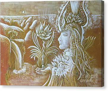 Goddess With Lotus Canvas Print by Evelyn Cammarano