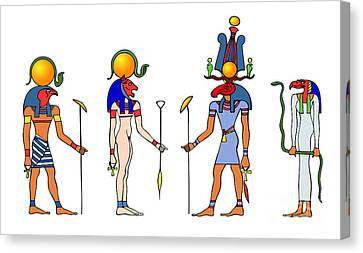 Gods And Goddess Of Ancient Egypt Canvas Print by Michal Boubin
