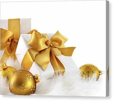 Gold Ribboned Gifts With Christmas Balls  Canvas Print by Sandra Cunningham