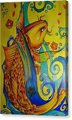 Golden Koi Canvas Print by Sandro Ramani