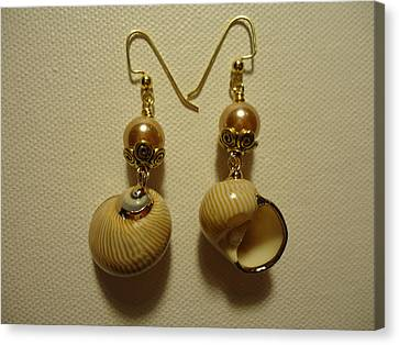 Golden Shell Earrings Canvas Print by Jenna Green