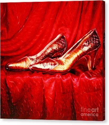 Golden Shoes - Pholaroid Sx-70 Canvas Print by Renata Ratajczyk