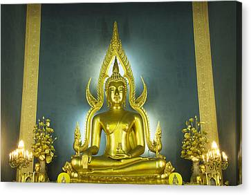 Golden Sitting Buddha Canvas Print by Gloria and Richard Maschmeyer