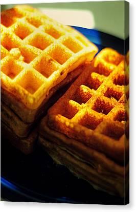 Golden Waffles Canvas Print by Rebecca Sherman