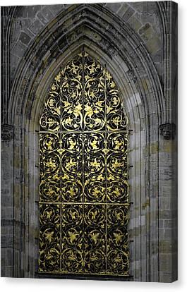 Golden Window - St Vitus Cathedral Prague Canvas Print by Christine Till