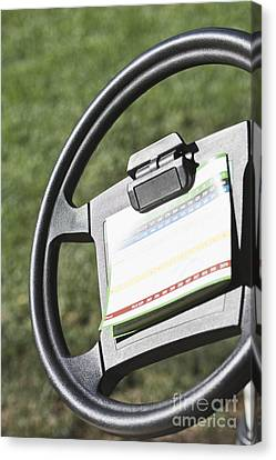 Golf Scoring Card On Golf Cart Steering Wheel Canvas Print by Jetta Productions, Inc