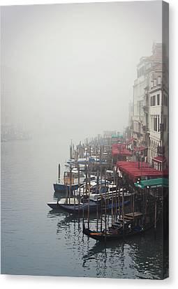 Gondolas On Grand Canal In Fog Canvas Print by Silvia Sala