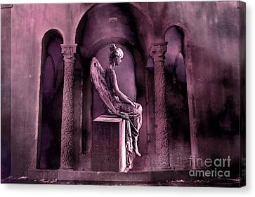 Gothic Fantasy Surreal Angel In Mourning Canvas Print by Kathy Fornal
