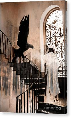 Gothic Surreal Grim Reaper With Large Eagle Canvas Print by Kathy Fornal