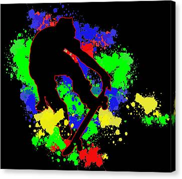 Graffiti Paint Splotches Skateboarder Canvas Print by Elaine Plesser