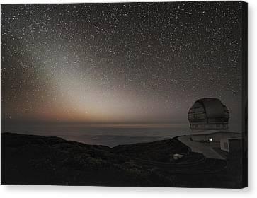 Grantecan Telescope And Zodiacal Light Canvas Print by Alex Cherney, Terrastro.com
