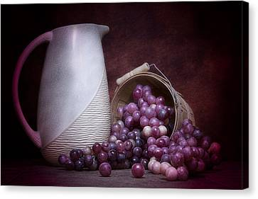 Grapes With Pitcher Still Life Canvas Print by Tom Mc Nemar