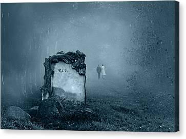 Grave In A Forest Canvas Print by Jaroslaw Grudzinski