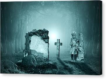 Graves In A Forest Canvas Print by Jaroslaw Grudzinski