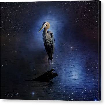 Great Blue Heron On A Starry Night Canvas Print by J Larry Walker