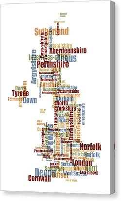 Great Britain Uk County Text Map Canvas Print by Michael Tompsett