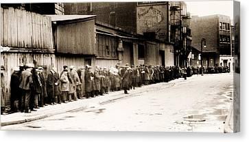 Great Depression Breadline At Mccauley Canvas Print by Everett