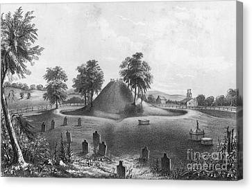 Great Mound At Marietta, 1848 Canvas Print by Photo Researchers