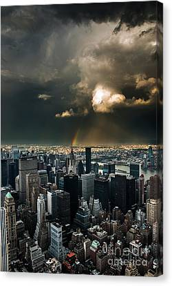 Great Skies Over Manhattan Canvas Print by Hannes Cmarits