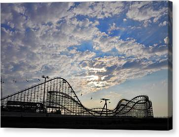 Great White Roller Coaster - Adventure Pier Wildwood Nj At Sunrise Canvas Print by Bill Cannon