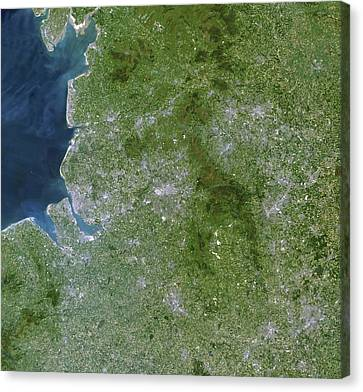 Greater Manchester, Satellite Image Canvas Print by Planetobserver