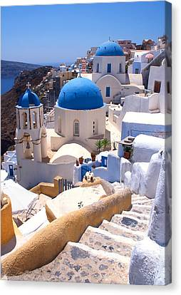 Greek Churches And Steps Canvas Print by Paul Cowan