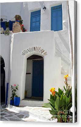 Greek Doorway Canvas Print by Jane Rix