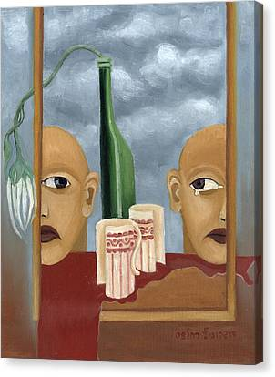 Green Bottle Agony Surrealistic Artwork With Crying Heads Cut Cups Flowing Red Wine Or Blood Frame   Canvas Print by Rachel Hershkovitz