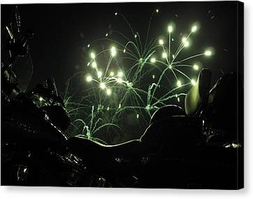 Green Fireworks Over A Soft Tail Canvas Print by Tobey Brinkmann