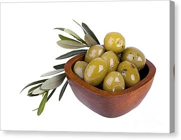 Green Olives Canvas Print by Jane Rix