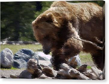Grizz Dinner Canvas Print by Kevin Bone