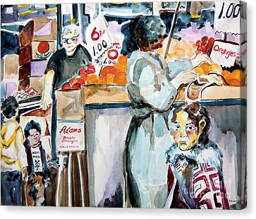 Grocery Shopping Canvas Print by Mindy Newman